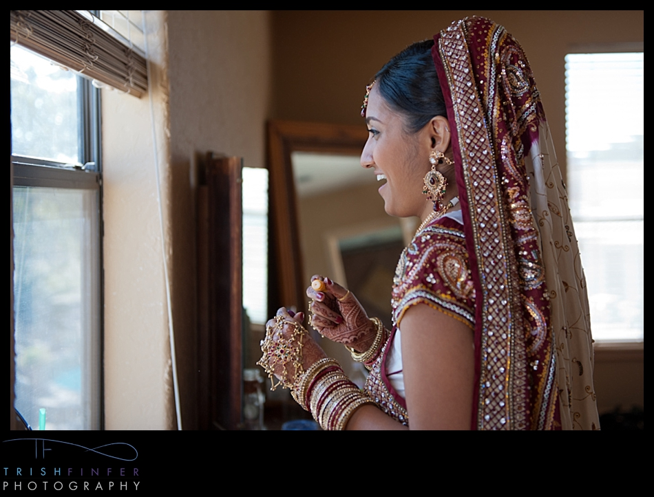 Hindu Bride Window Laughing