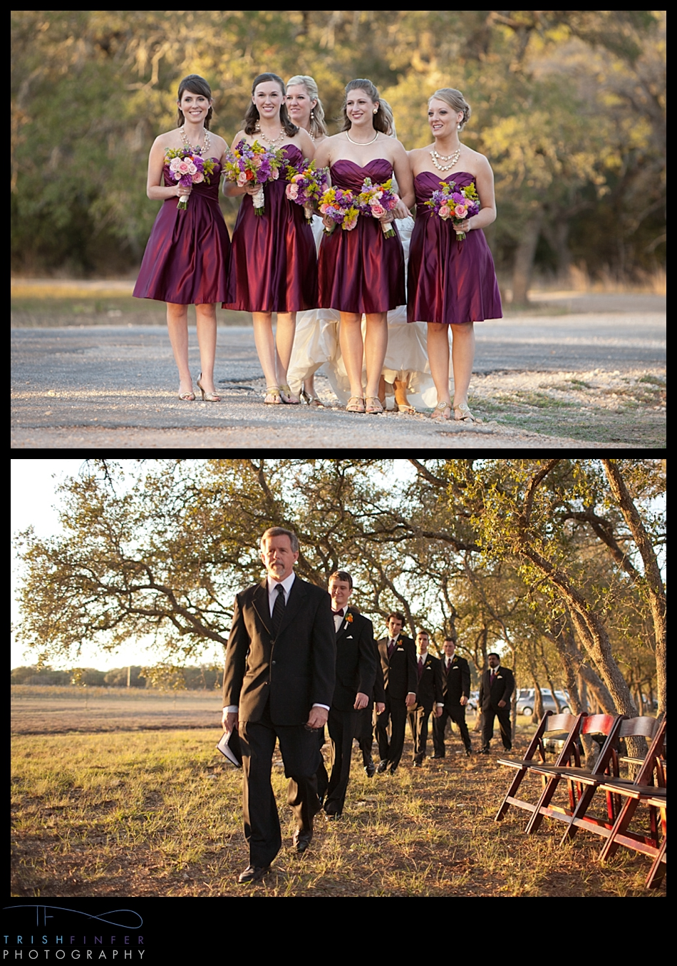Processional Winery Wedding Sunset