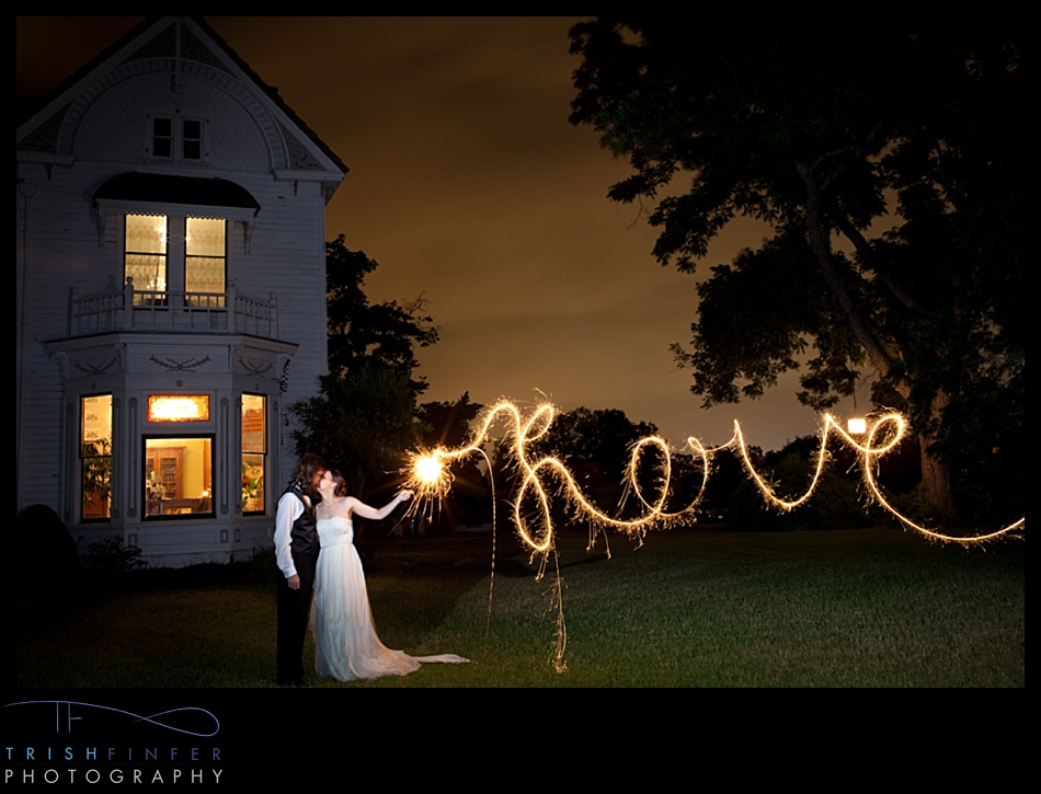 Bride Groom Sparkler Writing